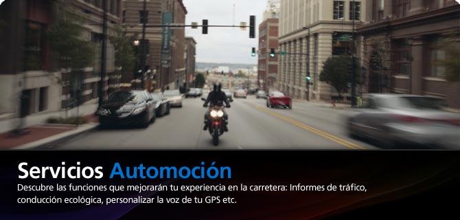 Servicios Automoci�n. Descubre las funciones que mejorar�n tu experiencia en la carretera: Informes de tr�fico, conducci�n ecol�gica, personalizar la voz de tu GPS etc.