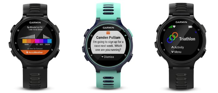 Garmin Forerunner 735XT GPS Running Watch apps and notifications screens